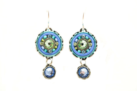 Aqua La Dolce Vita Small Round Earrings by Firefly Jewelry