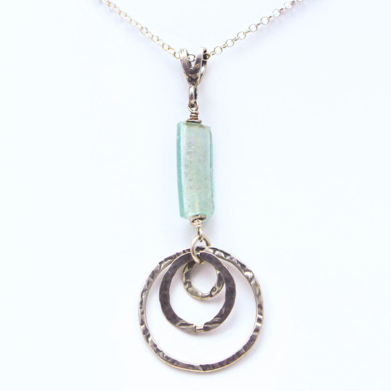 Washed Roman Glass with Triple Silver Circle Pendant Necklace