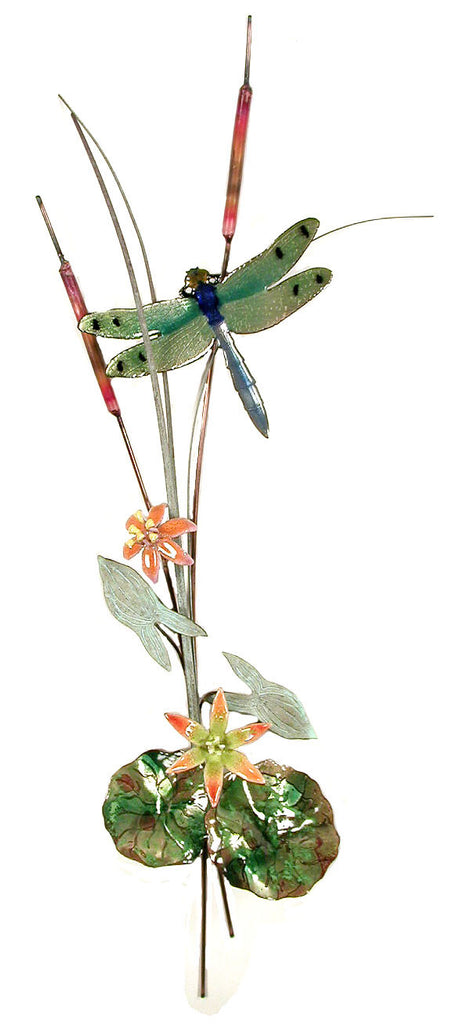 Green Winged Dragonfly with Orange Flowers Wall Art by Bovano Cheshire