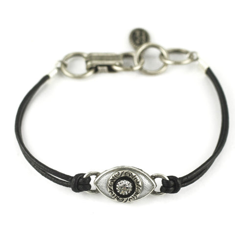 Black and Silver Small Eye Leather Bracelet by Michal Golan