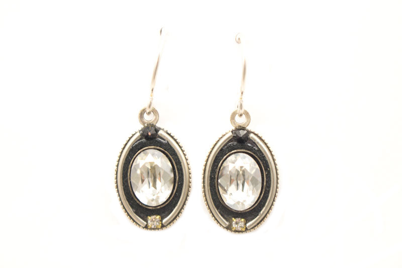 Black and White La Dolce Vita Oval Earrings by Firefly Jewelry