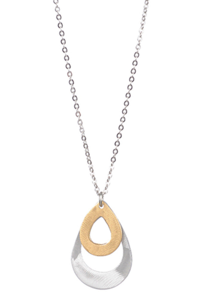 Mix Metal Layered Open Teardrops Pendant Necklace