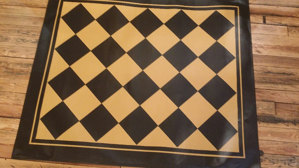 "Diamond Floorcloth with Border in Mustard - Size 48"" x 60"""