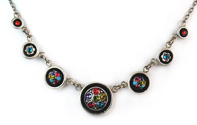 Multi Color Circle Crystal Necklace by Firefly Jewelry