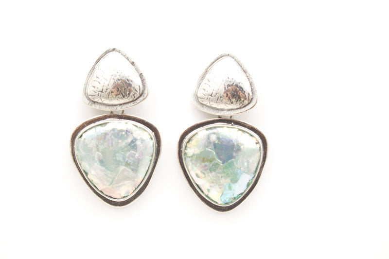 Abstract Triangle Patina Roman Glass Post Earrings