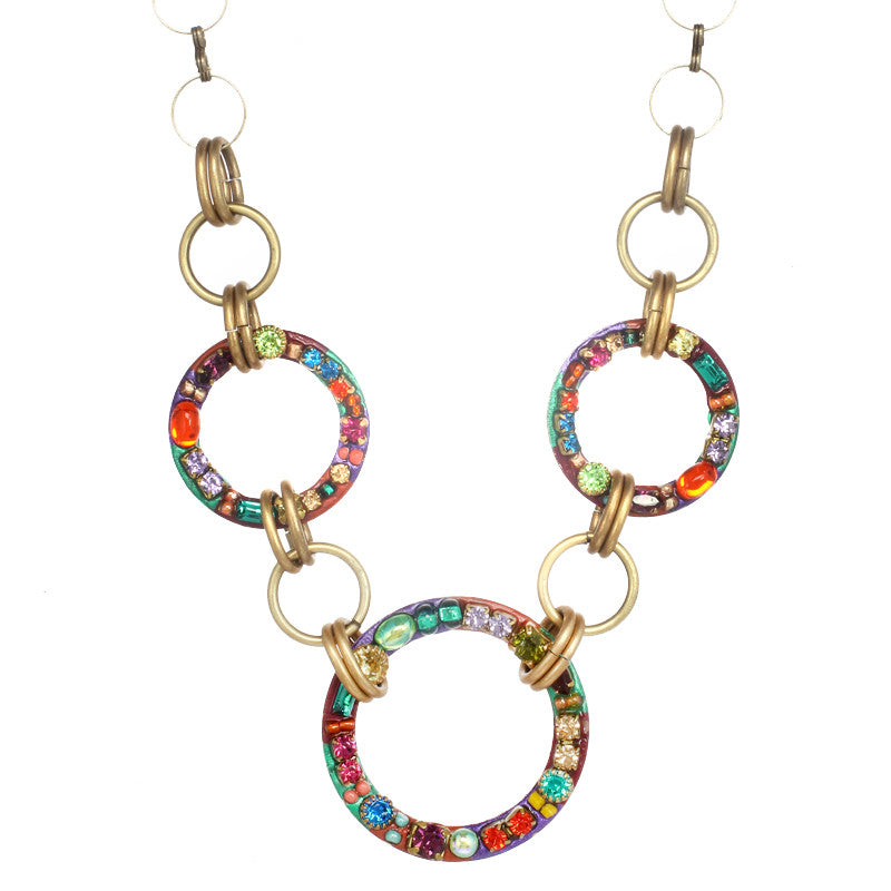 Multi Bright Three Circle Necklace by Michal Golan
