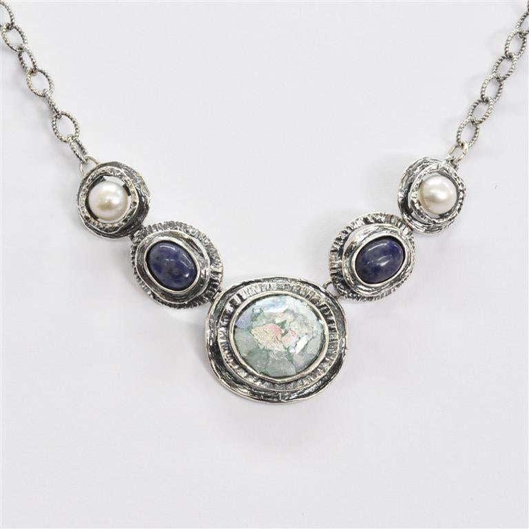 Lapis and Pearl Roman Glass Necklace