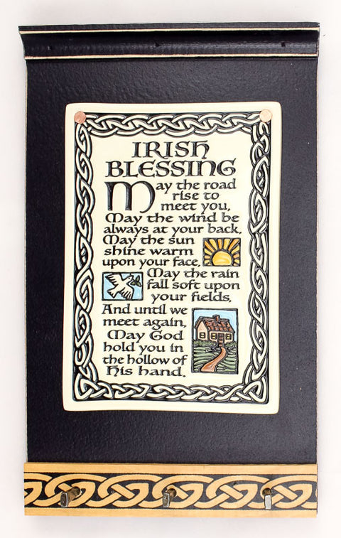 Irish Blessing Ceramic Tile on Wooden Keyholder