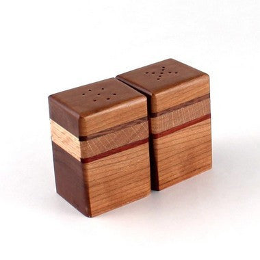 Striped Salt and Pepper Shakers in Cherry