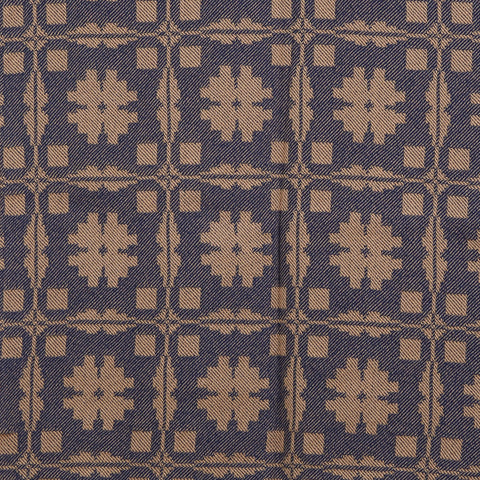 Fancy Snowballs Table Square in Blue with Tan