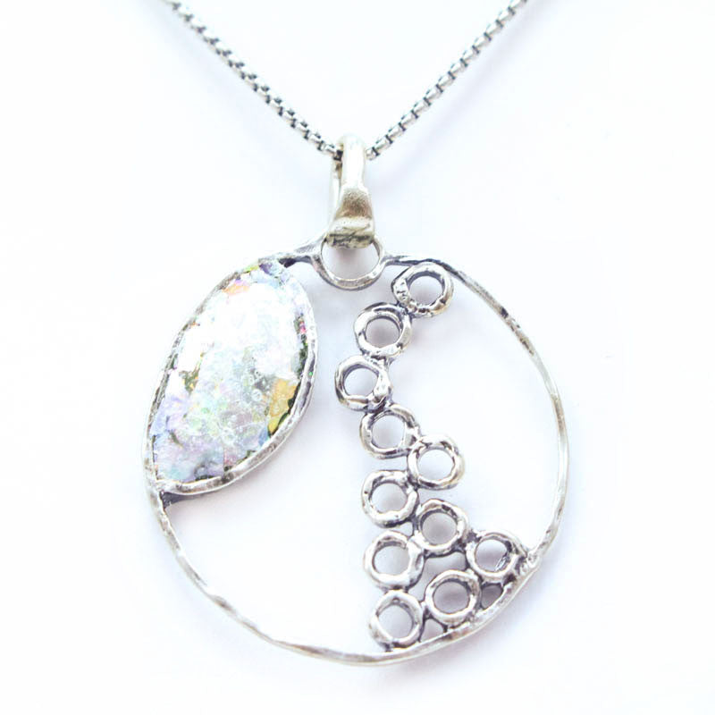 Open Circle Cascading Bubbles Design Patina Roman Glass Necklace