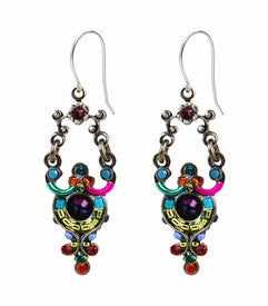 Multi Color Elaborate Scroll Earrings by Firefly Jewelry