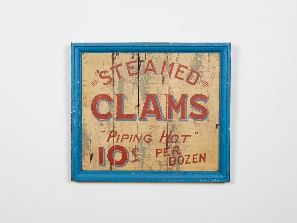 Steamed Clams 10 cent Piping Hot. blue outline Americana Art