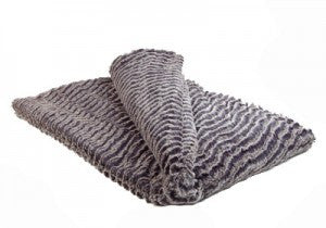 "Desert Sand In Charcoal Luxury Faux Fur Throw 58""x45"""