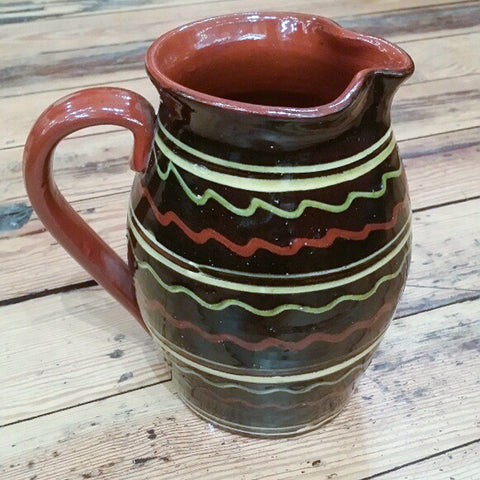 Redware Pitcher in Black with Green and Red Lines
