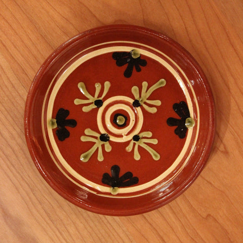 Redware Coaster with Circles and Fern