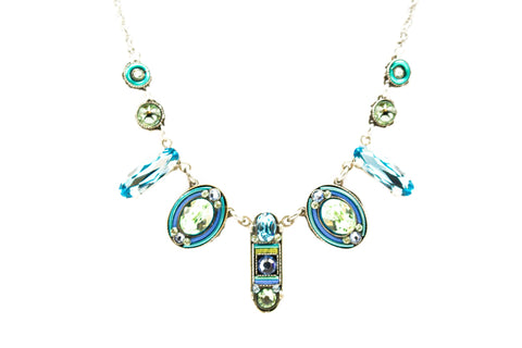 Aqua La Dolce Vita Oval Necklace by Firefly Jewelry