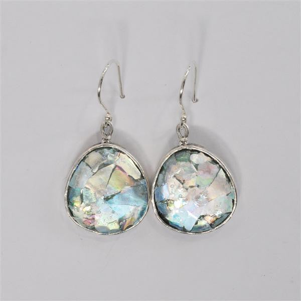Wide Bottom Round Patina Roman Glass Earrings