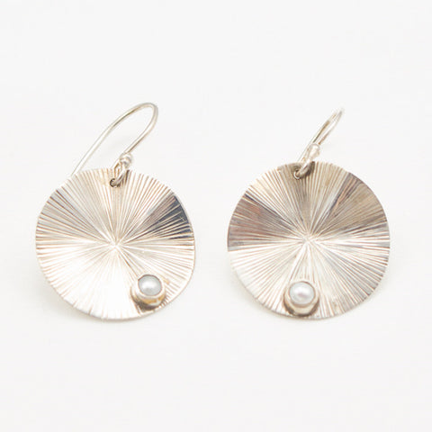 Sterling Silver Lily Pad with Pearl Inset Earrings