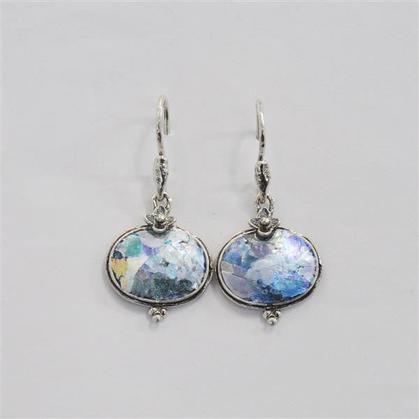 Floral Flourish Oval Patina Roman Glass Earrings