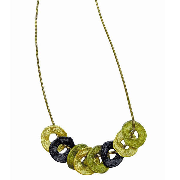 Curly Pod Gold and Patina 16 Inch Adjustable Necklace