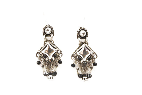 Black and White Bright Mini Chandlier Earrings by Firefly Jewelry