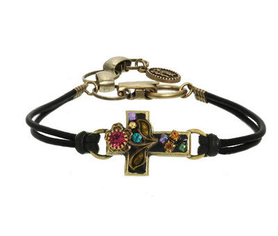 Crystal Flower Cross Leather Bracelet by Michal Golan