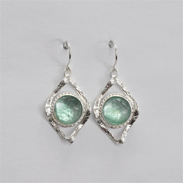 Wavy Open Diamond with Circle Washed Roman Glass Earrings
