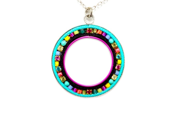 Multi Color Candy Hoop Necklace by Firefly Jewelry