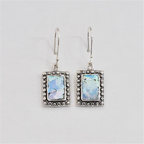 Studded Edge Rectangle Patina Roman Glass Earrings