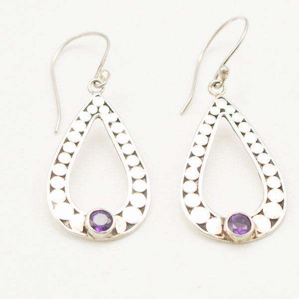 Sterling Silver Circle Tear Drop Earrings with Amethyst