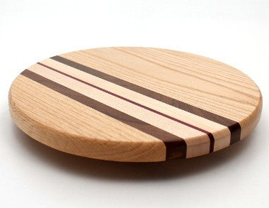 Lazy Susan with Stripes in Oak - Size 12""
