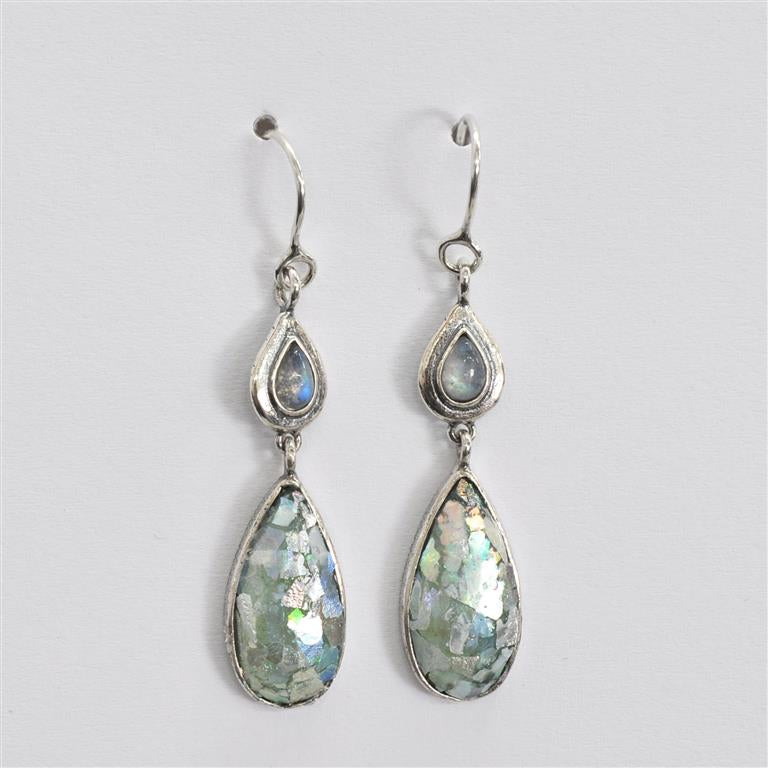 Shiny Silver Two Drop Dangle Roman Glass Earrings