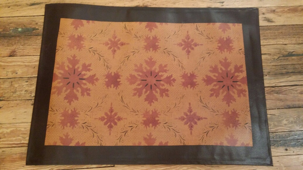 "Humphries House Floorcloth with Border in Antique - Size 24"" x 36"""