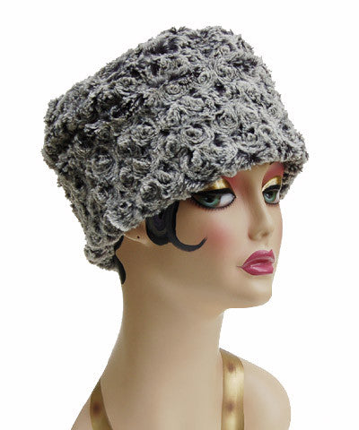 Rosebud In Black Luxury Faux Fur Cuffed Pillbox Hat
