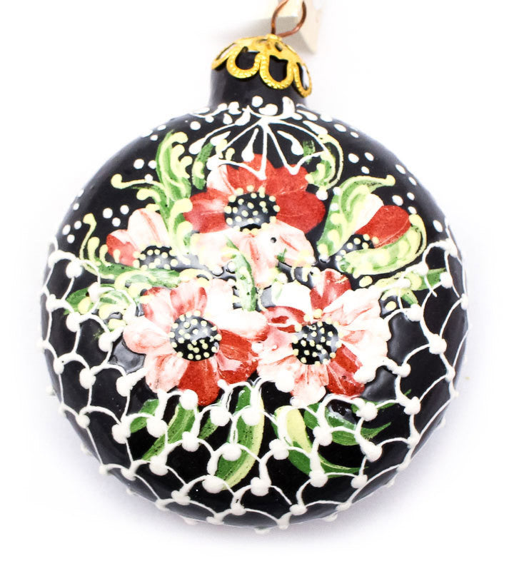 Blushed Flower Basket Small Round Ceramic Ornament