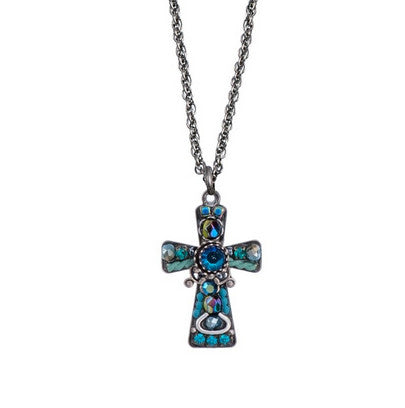 Turquoise Small Cross Necklace by Ayala Bar