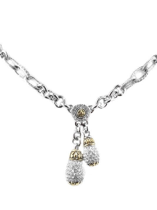 Briolette Pave Double Drop Necklace by John Medeiros