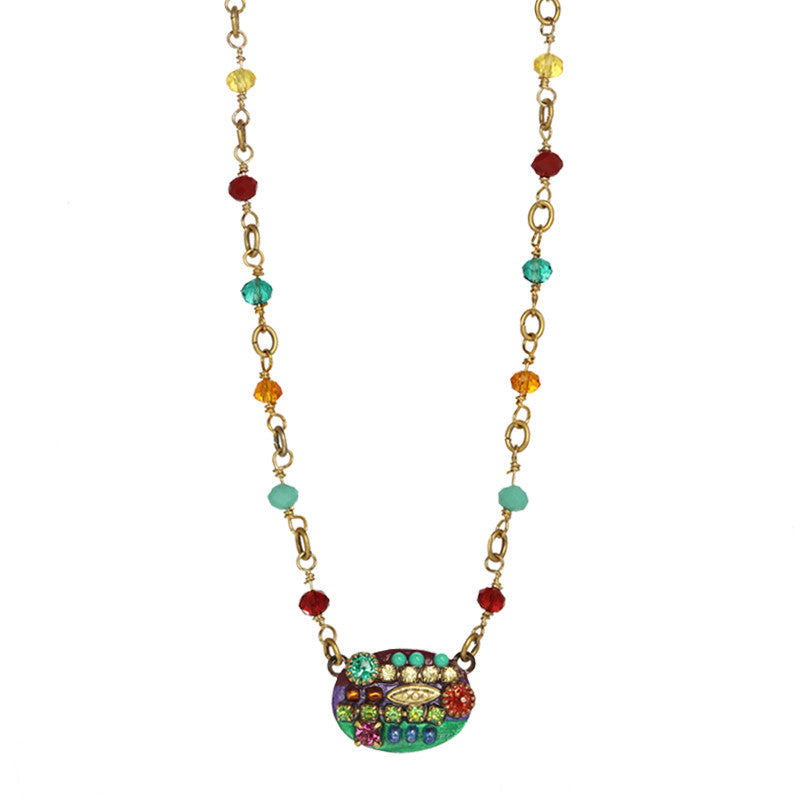 Multi Bright Small Oval Pendant Beaded Chain Necklace by Michal Golan