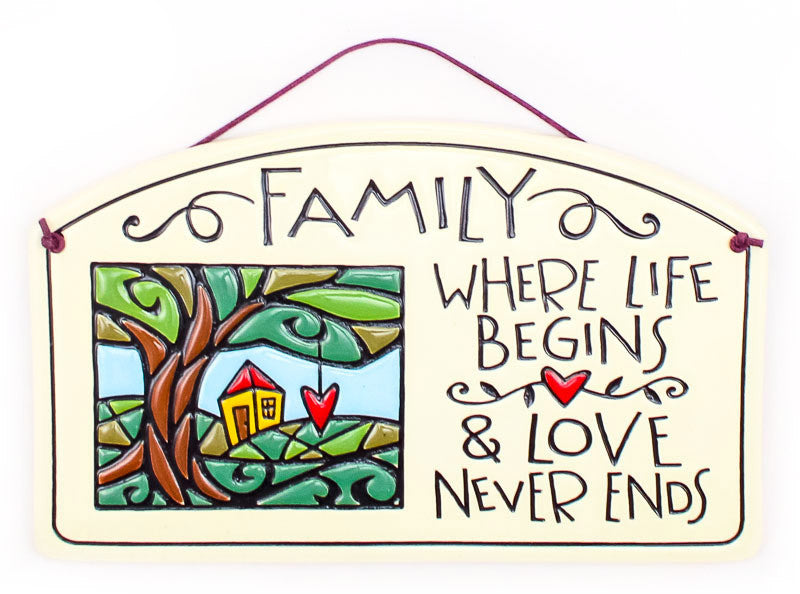 Love Never Ends Large Arch Ceramic Tile