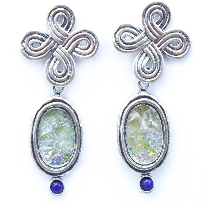 Celtic Knot with Lapis and Oval Patina Roman Glass Earrings