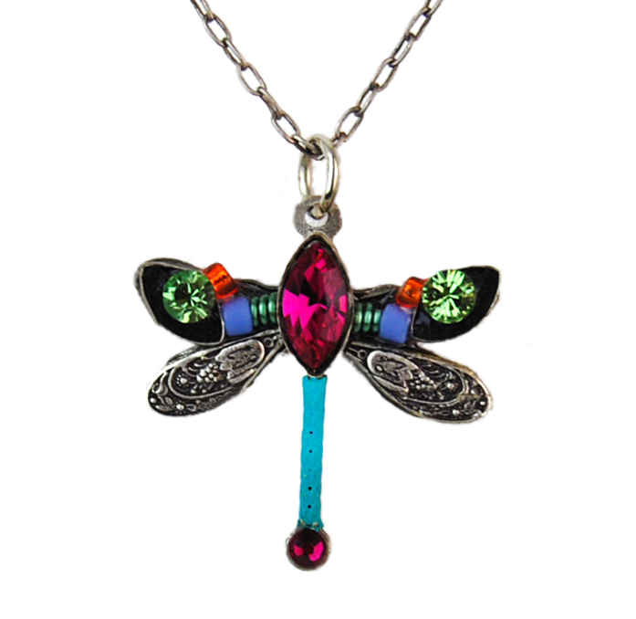 Fuchsia Petite Dragonfly Pendant Necklace by Firefly Jewelry