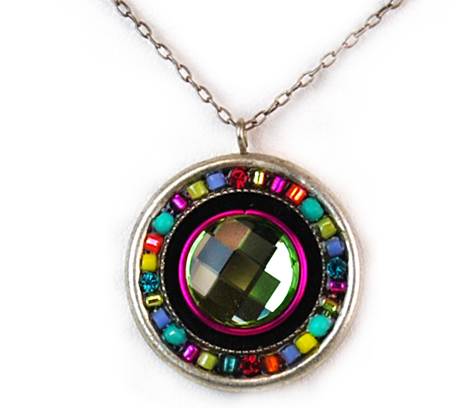 Multi Color Mosaic Roulette Necklace by Firefly Jewelry