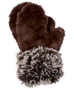 Chocolate with Sand with Silver Tip Fox in Brown Luxury Faux Fur Mittens