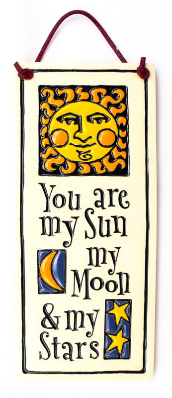 Sun, Moon and Stars Small Tall Ceramic Tile
