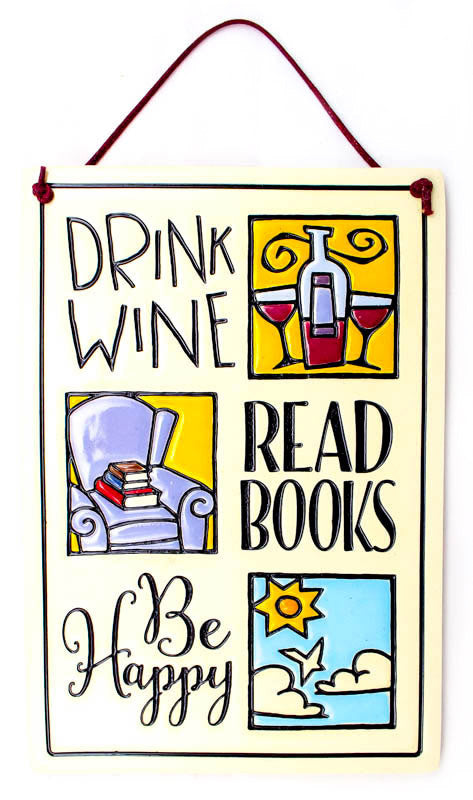 Drink Wine Read Large Rectangle Ceramic Tile