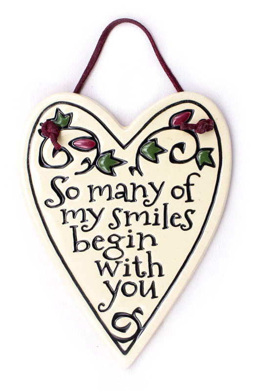 So Many Smiles Heart Shaped Charmer Ceramic Tile