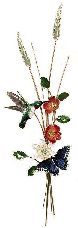 Hummingbird, Butterfly, Vertical Wall Art by Bovano