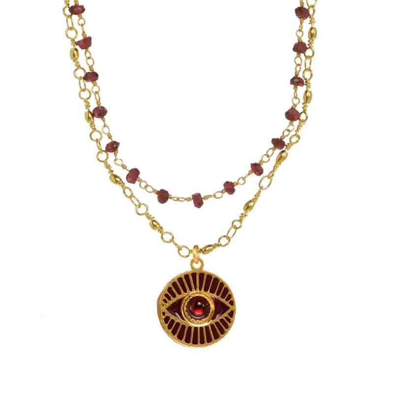 Gold Garner Medium Round Evil Eye Pendant Double Stand Necklace by Michal Golan