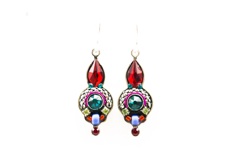 Red Multi Color Drop Earrings by Firefly Jewelry